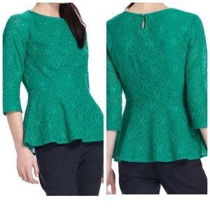 Moulinette soeurs Kelley green peplum lace top